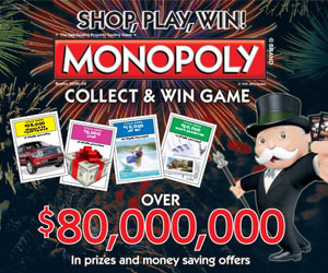 Monopoly collect and win board